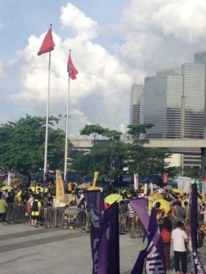 "Protesters assembling outside LegCo buildings, at the end of the ""The Citizens Against Pseudo-Universal Suffrage"" march, Hong Kong, June 14, 2015. HRIC photo."