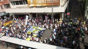Democracy march organized by Civil Human Rights Front, from Victoria Park to Tim Mei Avenue, Hong Kong, July 1, 2015. HRIC photo.