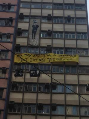 """29.Banner reads: """"You May Say I'm A Dreamer, But I'm Not The Only One,"""" during march to """"Build a Democratic Hong Kong, Regain the Future of Our City,"""" from Victoria Park to Tim Mei Avenue, Hong Kong, July 1, 2015. HRIC photo."""